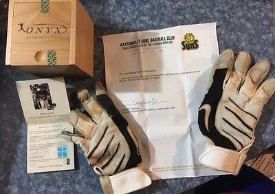2010 Mike Giancarlo Stanton Rookie Game Used Batting Gloves With Coa Onyx Box