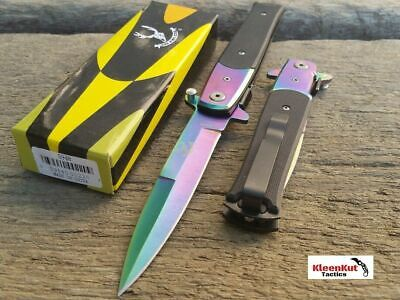 """8.5"""" Rainbow Bone Edge Tactical Spring Assisted Open Stiletto Pocket Knife Blade"""