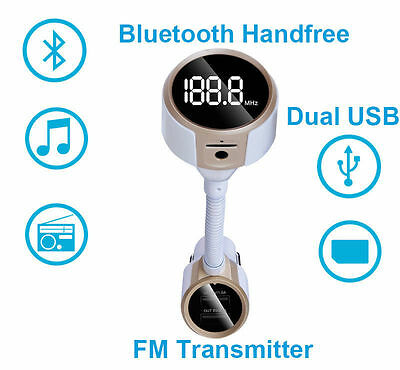 Dual USB Bluetooth Wireless FM Transmitter for iPhone 7 Plus Samsung Galaxy S8+