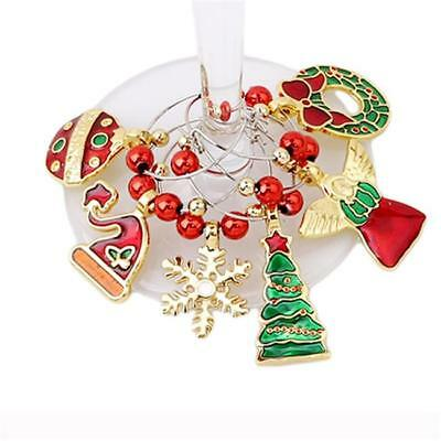 6pcs Mixed Christmas Glass Wine Charms Mark Ring Table Decorations Gift Q