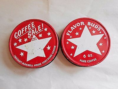 Lot of 2 Vintage Maxwell House Tin Lids for Coffee Jars - Lids Only