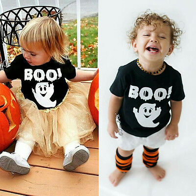 USA Halloween Boys Girls Baby Toddler Kids Ghost T-Shirt Tee Tops Cotton Clothes