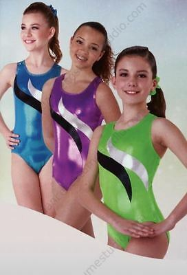 Axis Adult Springboard Fluoro Green Metallic Gymnastic Leotard szSA BNWT (22)