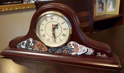 WOODEN MANTEL CLOCK-Hand Painted Cavalier King Charles Spaniel