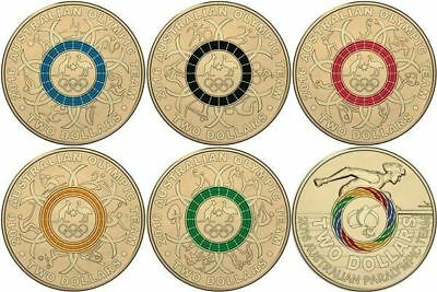 Australian Two Dollar $2 coins - 2016 - Rio Olympic Games SET - All 6 - Mint