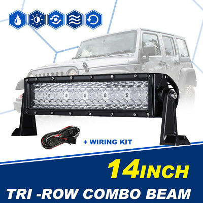 Tri-Row 14inch 432W CREE Led Work Light Bar Combo for Jeep Boat Truck Dodge Ram