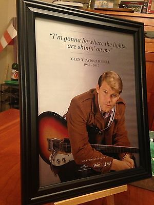 "2 BIG 10x13 FRAMED ""GLEN CAMPBELL 1936-2017"" LEGEND ICON TRIBUTE LP CD PROMO ADS"