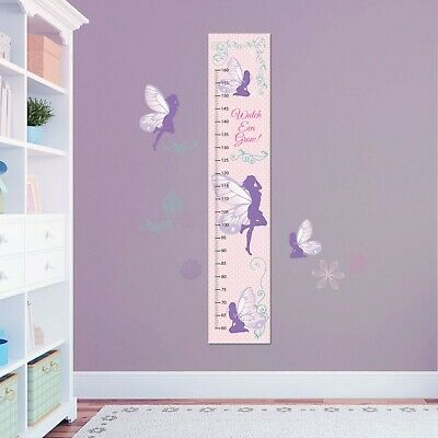 Gift Set  Fairy Girls Customised Height Growth Chart + 2 A4 Wall Decor Stickers