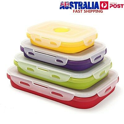 4 SIZE Silicone Collapsible Lunch Boxes Portable Folding Food Storage Containers