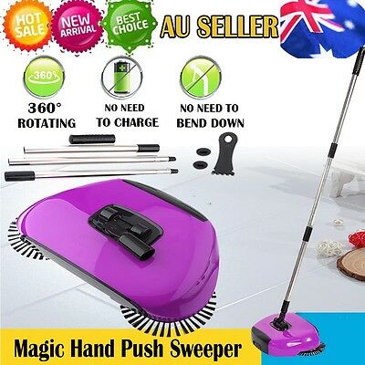 360° Swivel Automatic Hand Push Sweeper Household Cleaning Broom Mops No Power G