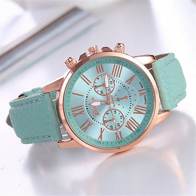 New Fashion Geneva Women Leather Band Alloy Watches Quartz Analog Wrist Watch
