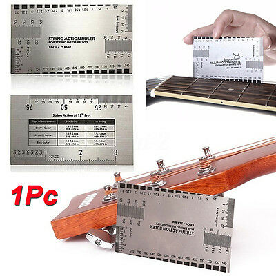 String Action Gauge Ruler Guide Setup Guitar Measuring Fork Bass Luthier Tool