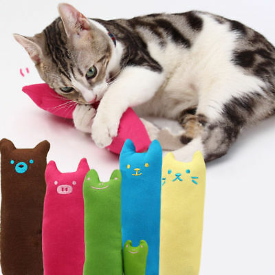 Cat Kitten Interactive Teeth Grinding Claws Toys Catnip Soft Lovely Funny Pillow