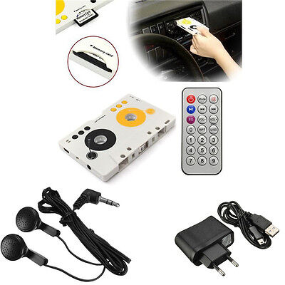 Car MP3 Player Tape Cassette SD MMC Stereo Audio Adapter+Remote Control Earphone