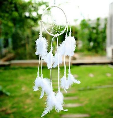 Handmade Dream White Feather Catcher Car Wall Hanging Home Decor Ornament Gift ♫