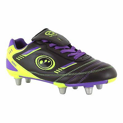 Optimum Tribal Junior Rugby Boot Black/purple/green sz 5 RRP £35