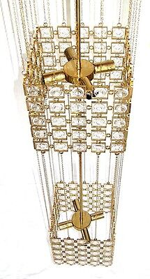 Gilded Brass and Crystal Column Chandelier by Palwa