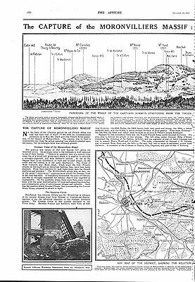 1917 Antique Print - Ww1- The Capture Of The Moronvilliers Massif, Map, 2 Pages