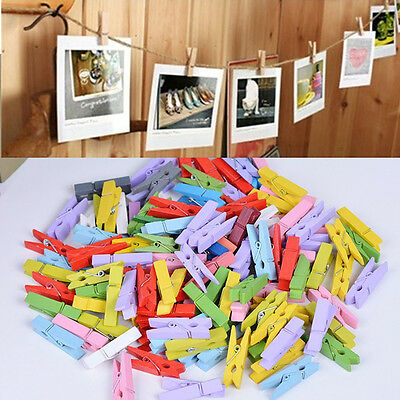50X Mini Wood Clothespins Laundry Photo Paper Peg Clip Clothes Pins Art Craft AU