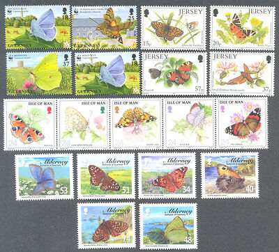 Butterflies-Channel Islands & Isle of Man collection - 4 sets -mnh