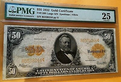 $50 1922 GOLD CERTIFICATE NOTE PMG25 VF LARGE Fr#1200