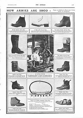 1917 Antique Print - Ww1- How Armies Are Shod-Types Of Soldier's Boots