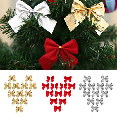 12X Colourful  Christmas Tree Bow Tie Decoration Tree Bow Party Ornaments Gifts