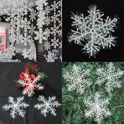 30/60pcs Classic White Snowflake Ornaments Christmas Xmas Tree Hanging Decor Neu