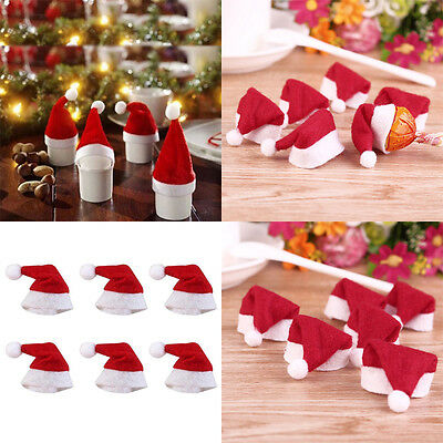 10/20Pcs Weihnachten Mini Lollipop Lollypop Santa Claus Hüte Cap Wrap Xmas Party