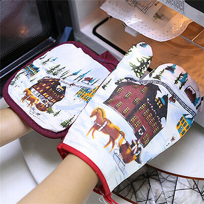 1set/2pcs Christmas microwave oven heat insulated pad Christmas glove mat Neu