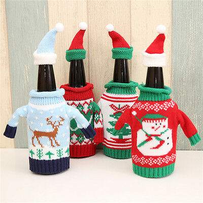 Neu Christmas Santa Wine Bottle Bag Cover Xmas Dinner Party Table Decor Gifts