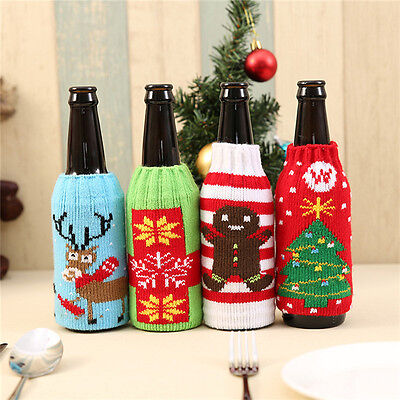 Christmas Santa Wine Bottle Bag Cover Xmas Dinner Party Table Decor Gifts Neu