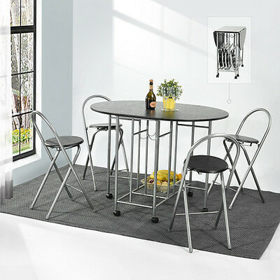 Butterfly Folding Dining Table and 4 Chairs Black Home Barbecue Tables Seat Set