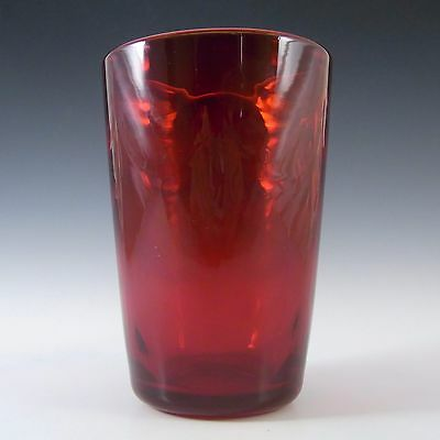 Whitefriars/Marriott Powell Ruby Red Glass Wave Ribbed Vase