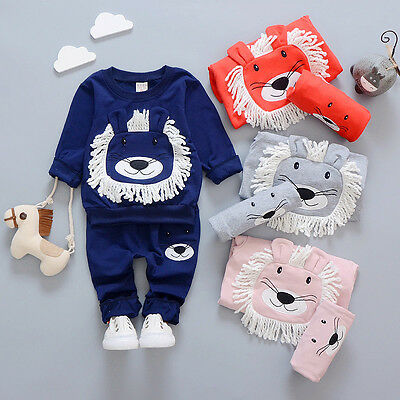 Kids Romper Hoodie Toddler Baby Girls Boys Clothe Tops Shirt+Pants Tracksuit Set