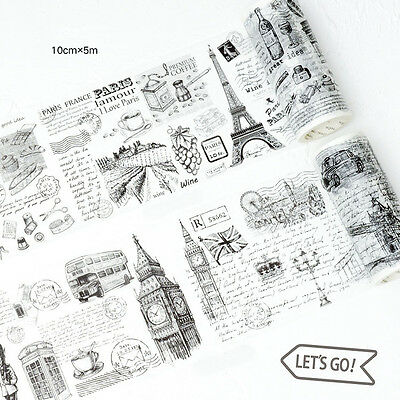European Memories Illustrations Washi Paper Adhesive Tapes Decor DIY Scrapbook