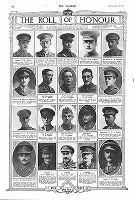 1917 Antique Print - Ww1- Roll Of Honour #3