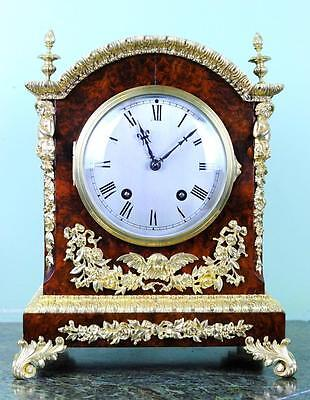 Impressive Lenzkirch Burr Walnut Bracket Mantle Clock