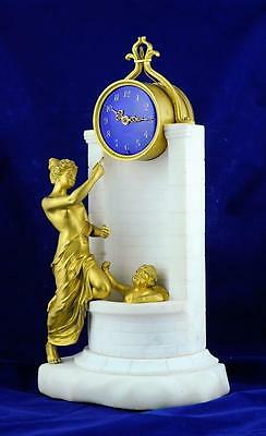 FRENCH MANTLE CLOCK ORMLOU GUILLOCHE DIAL - Venus bathing cupid