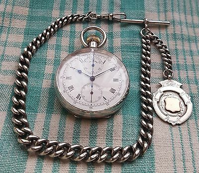1907,S&Co,Stauffer,Silver,flyback Chronograph,Pocket Watch,Albert Chain+FobMedal