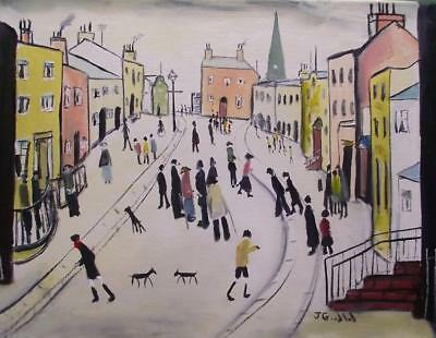 Highly Evocative Original Oil Painting by John Goodlad Northern Art Town Square
