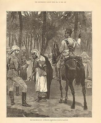1884 Antique Print-Nile Expedition- Doubtful Character In Camp At Assouan