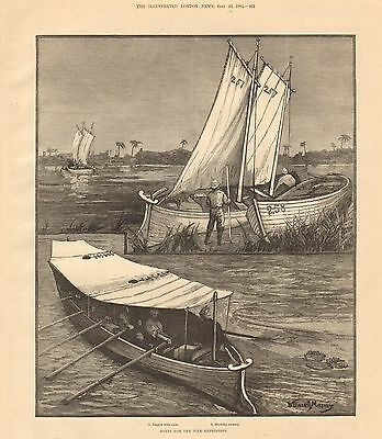 1884 Antique Print-Boats For The Nile Expedition, 2 Prints