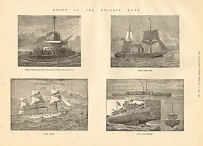 1884 Antique Print-Ships Of Navy-Thunderer,temeraire,comus,polyphemus