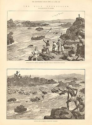 1884 Antique Print-The Nile Expedition-At The Cataracts