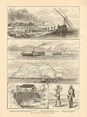 1884 Antique Print-Nile Expedition-With The Royal Engineers