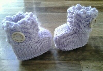 Hand knitted baby booties 0-6 months