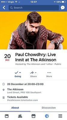 2 Paul Chowdhry Live Tickets The Atkinson - Theatre southport wed Dec 20th
