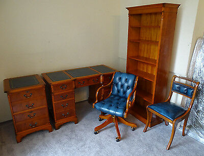 Antique Style Set:Desk,Filing Cabinet,Chesterfield Captains Chair,Chair,Bookcase