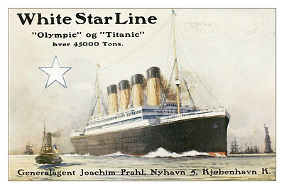 RMS Olympic - Titanic Danish Brochure Ad 12 x 18 - White Star Line